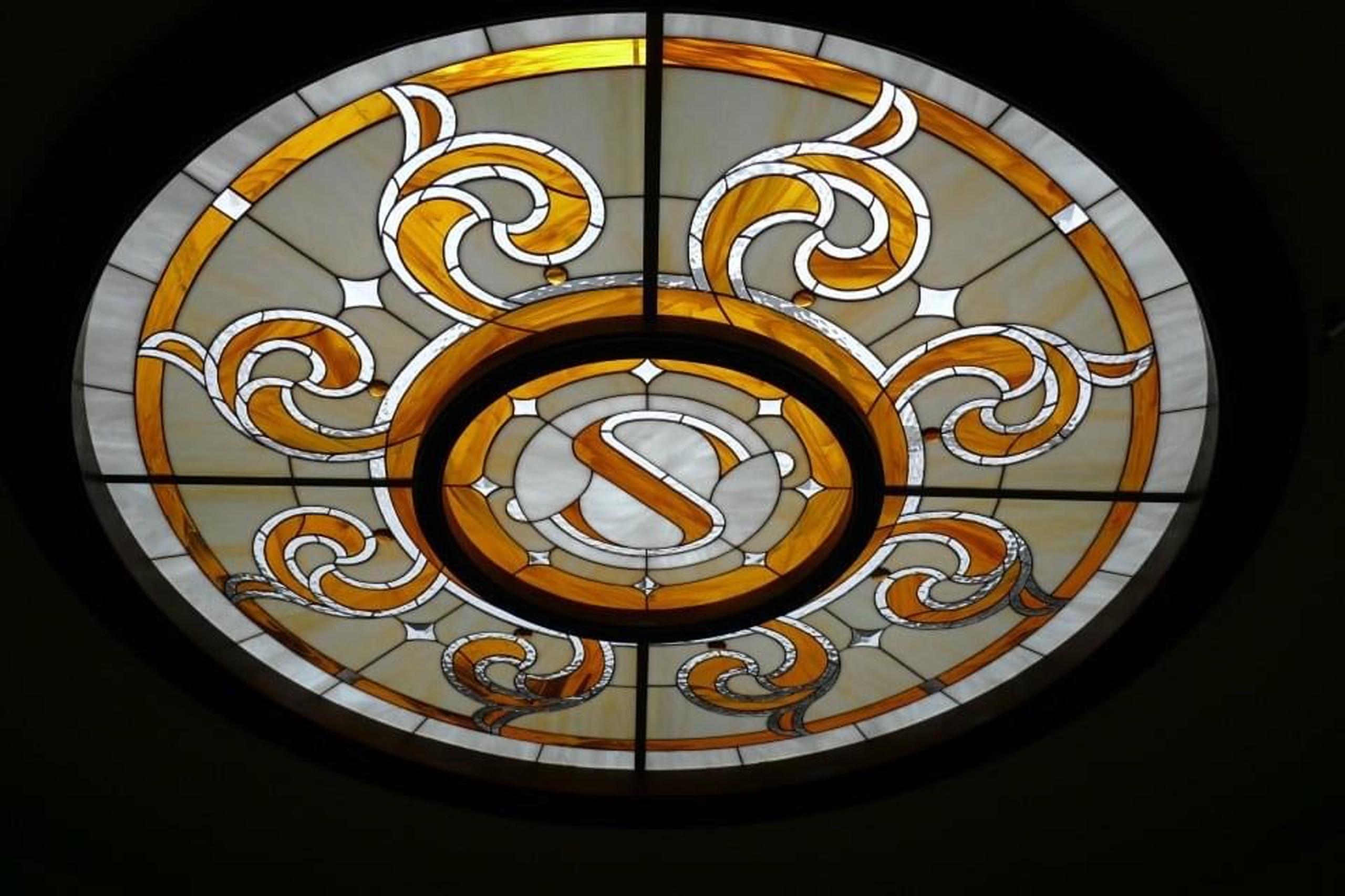 Trần kính ghép mẫu tròn